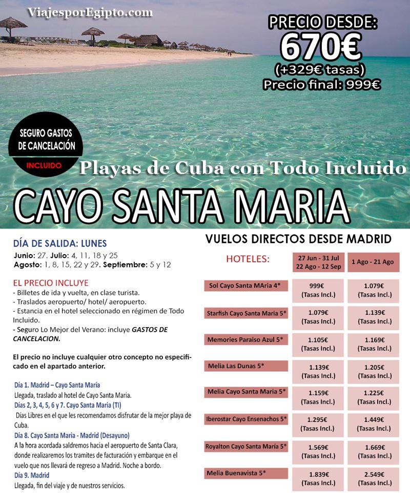 🌍 Viajes a Cuba Todo Incluido|Vacaciones Cayo St. Mª⇒Verano 2016
