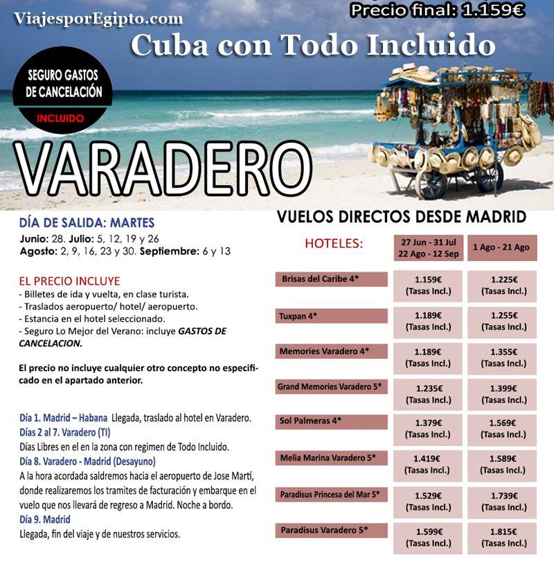  Viajes a Cuba Todo Incluido|Vacaciones en Varadero⇒Verano 2016