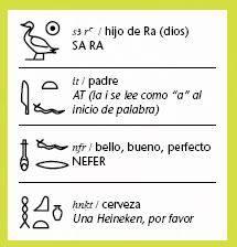 Ejemplos de palabras jerogl�ficas egipcias