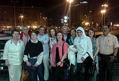 Fotograf�a de nuestro grupo en la Plaza Tahrir de El Cairo - Semana Santa