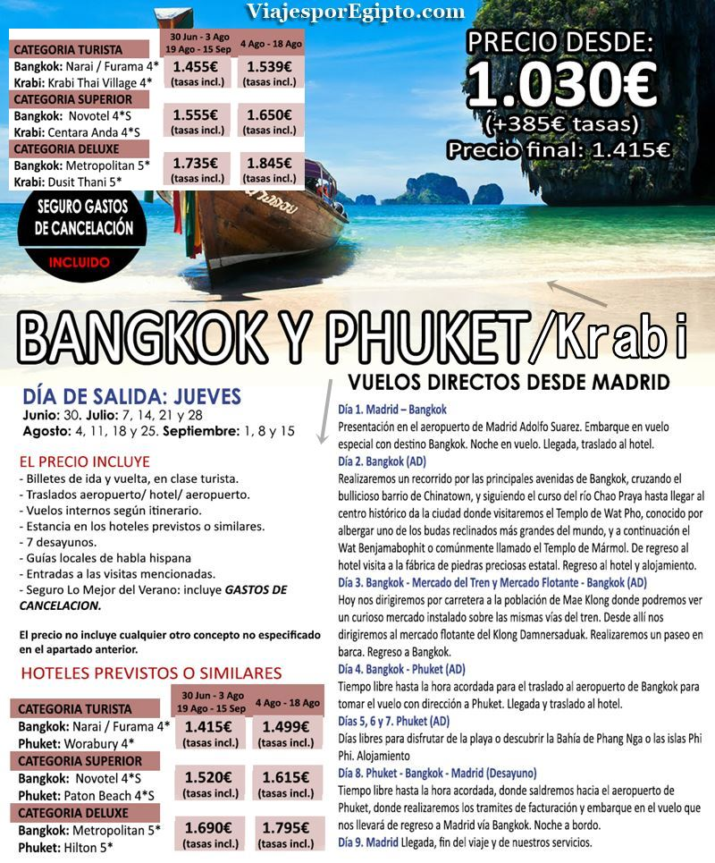 🌍 Viajes a Tailandia|Vacaciones en Bangkok y Phuket⇒Verano 2016